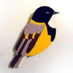 Golden Whistler brooch by Fun Is Cool